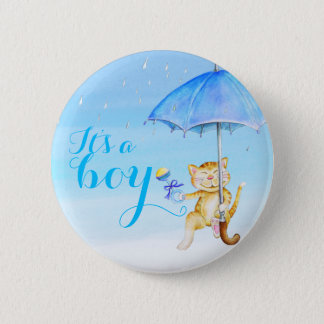 Its a boy new baby cat shower gender reveal 2 inch round button