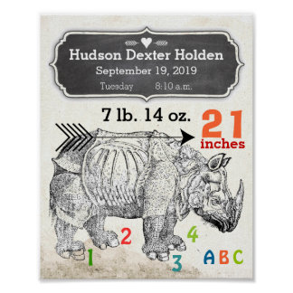 It's A Boy! New Baby Stats Rhinoceros Poster