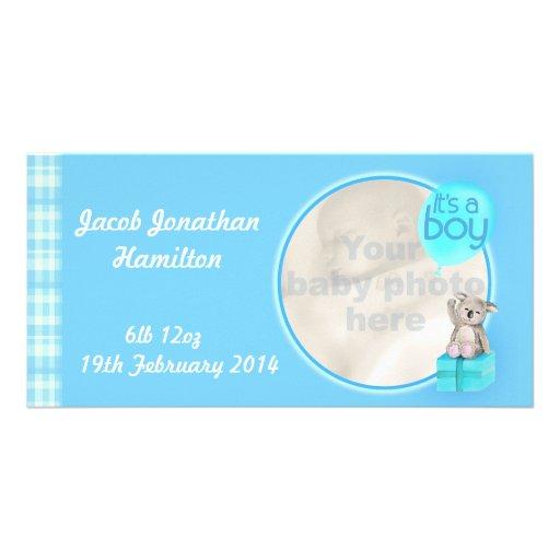 """It's a boy"" newborn baby announcement card Customized Photo Card"