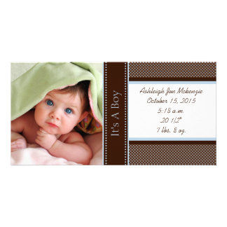 It's A Boy-Photo Card Stats Deep Brown Blue Dots Photo Greeting Card
