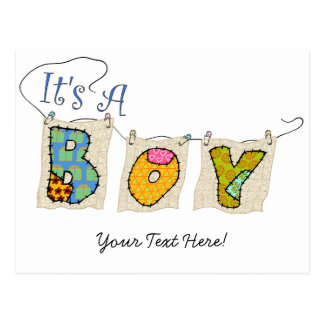 It's A Boy Quilted - Birth Announc. #2 Postcard