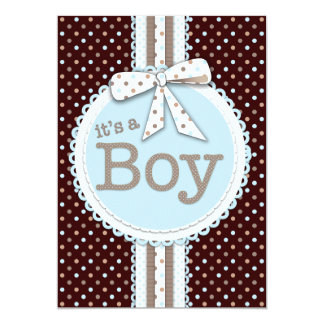 "It's a Boy Ribbon & Bow Baby Shower Blue Dots 5"" X 7"" Invitation Card"