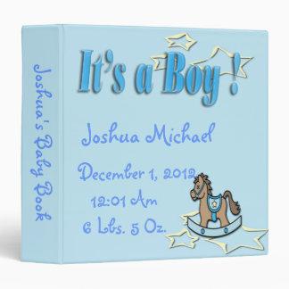 It's A Boy -  Rocking Horse Keepsake Baby Book Vinyl Binder