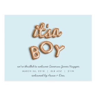 ITS a BOY! Rose gold/BULE postcard. Postcard