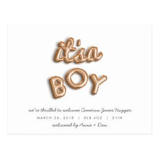 ITS a BOY! Rose gold postcard. Postcard
