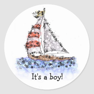 It's a boy! Sailboat Classic Round Sticker