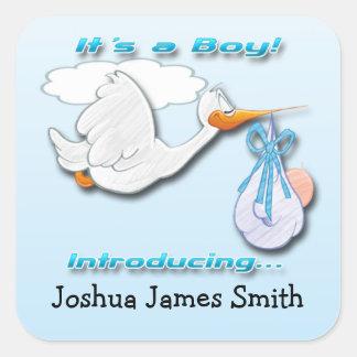 It's a Boy Stork Birth Announcement envelope seal
