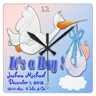 It's A Boy - Stork Keepsake Wall Clock