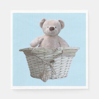 It's A Boy Teddy Bear Blue Stripes Baby Shower Napkin
