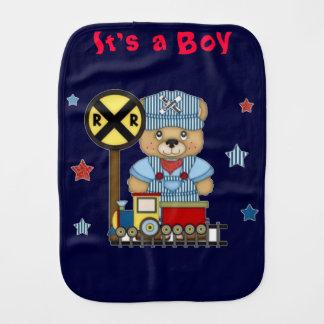 It's a Boy Teddy Bear Train Burp Cloth
