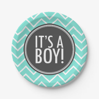 It's a Boy Turquoise Chevron and Charcoal 7 Inch Paper Plate
