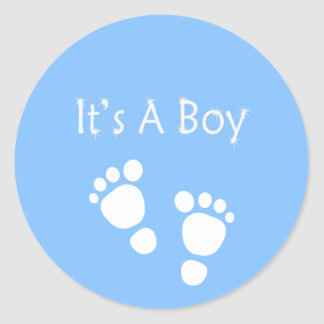 it's a boy with blue baby-feet classic round sticker