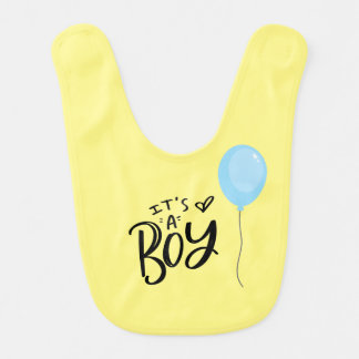 It's A Boy with Blue Balloon Bib