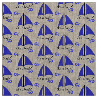"""""""It's a boy"""" with boat and waves Fabric"""