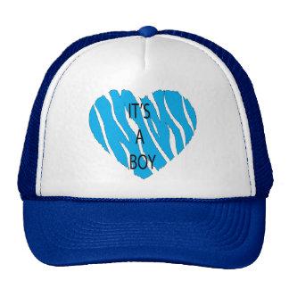 It's A Boy Zebra Heart Trucker Hat