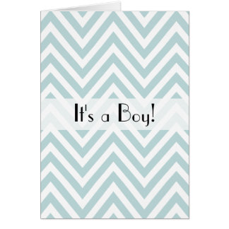 It's a Boy - Zigzag Pattern, Chevron - Blue Card