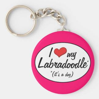It's a Dog! I Love My Labradoodle Basic Round Button Keychain