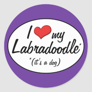It's a Dog! I Love My Labradoodle Classic Round Sticker