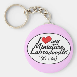 It's a Dog! I Love My Miniature Labradoodle Basic Round Button Keychain