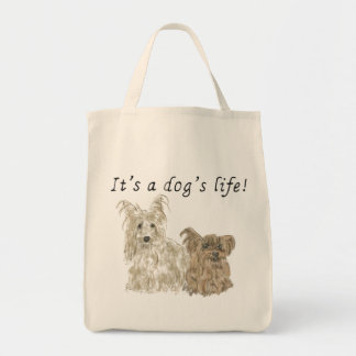It's a Dog's Life Yorkshire terriers Dog Art Quote Tote Bag
