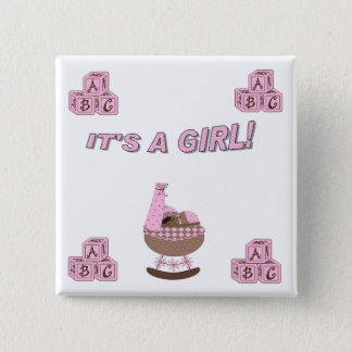 It's a girl 2 inch square button
