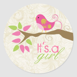 It's a girl Baby Announcement Envelope Seal Classic Round Sticker