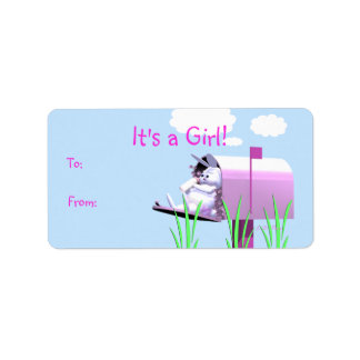 Its a Girl - Baby Bunny in Mailbox Gift Tag