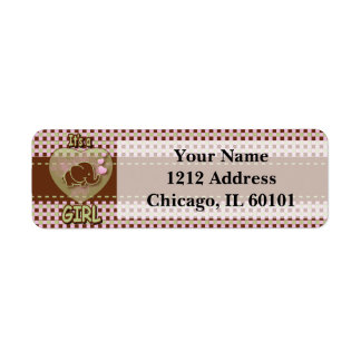 It's A Girl   Baby Elephant Return Address Label