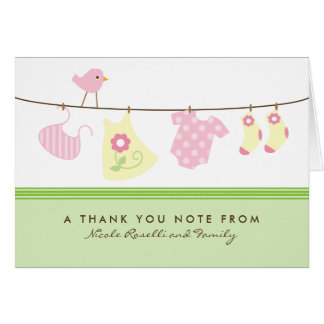 It's a Girl Baby Laundry Thank You Card (green)