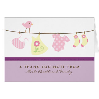 It's a Girl Baby Laundry Thank You Card (purple)