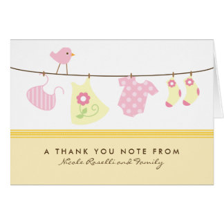 It's a Girl Baby Laundry Thank You Card (yellow)
