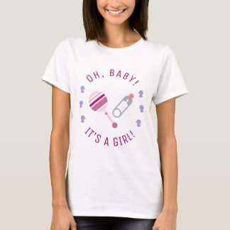 It's a Girl Baby Rattle Diaper Pin Gender Reveal T-Shirt