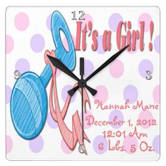 It's a Girl - Baby Rattle Keepsake Wall Clock