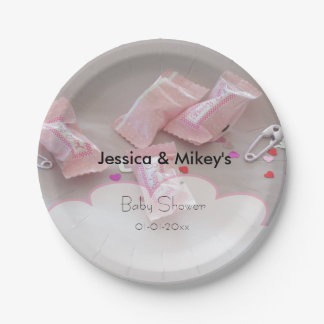 It's a girl baby shower candy safety pin paper plate