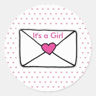 It's a Girl Baby Shower Love Mail Heart Envelope Round Sticker
