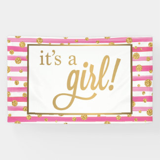 It's A Girl Banner - New Baby - Pink and Gold