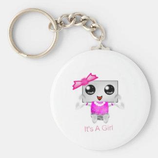 It's A Girl Basic Round Button Keychain