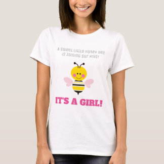 It's a Girl Bee Gender Reveal Baby Shower Cartoon T-Shirt