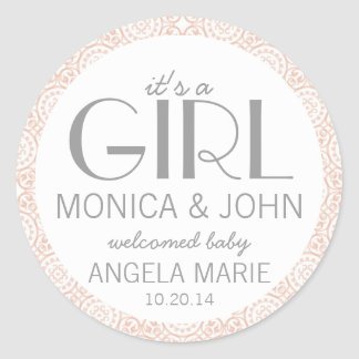 It's a Girl Birth Announcement Envelope Seal