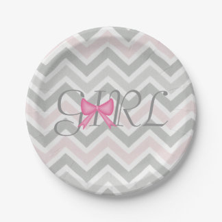 It's a Girl Bow Themed Baby Shower Paper Plates