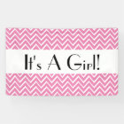 It's a Girl Chevron Choose Your Colour PINK 01 Banner