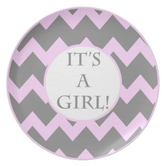 Its A Girl Chevron Milestone Party Plate