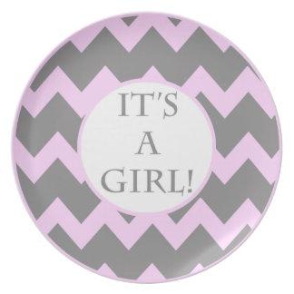 Its A Girl Chevron Milestone Party Plate