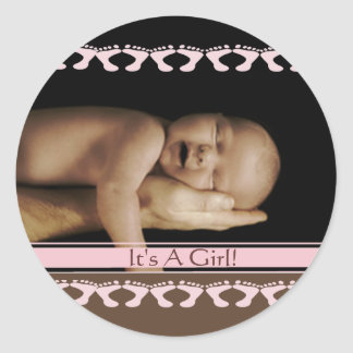 It's A Girl Classic Round Sticker