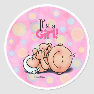 It's a Girl! Classic Round Sticker