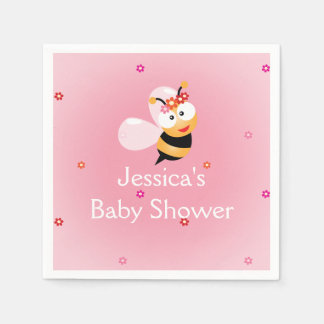 It's a Girl Cute Girly Bee Girl Baby Shower Party Disposable Napkin