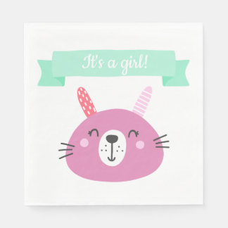 It's a girl! | Cute Pink Baby Bunny Paper Napkin