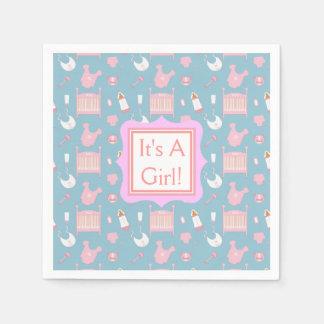It's A Girl  Cute Pink Baby Shower Scene Paper Napkin