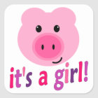 It's A Girl! Cute Pink Pig Stickers