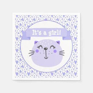 It's a girl | Cute Purple Cat | Baby Shower Napkin